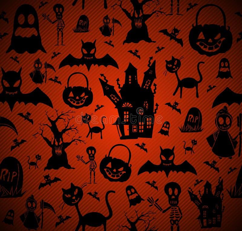Dossier sans couture du fond EPS10 de modèle d'éléments de Halloween. illustration libre de droits