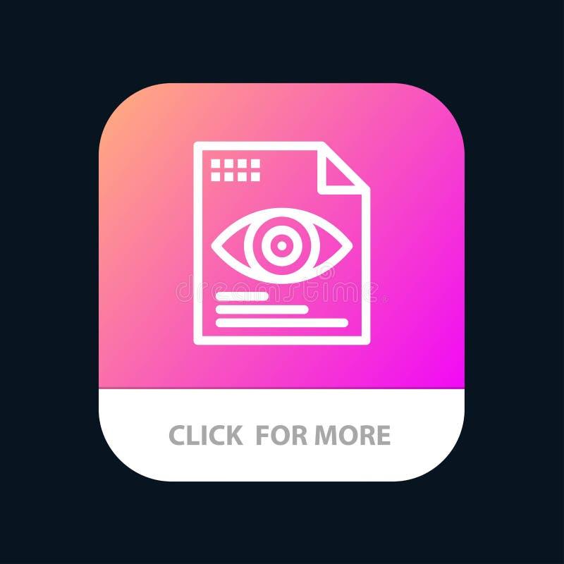 Dossier, Tekst, Oog, de Knoop van de Gegevensverwerkingsmobiele toepassing Android en IOS Lijnversie royalty-vrije illustratie