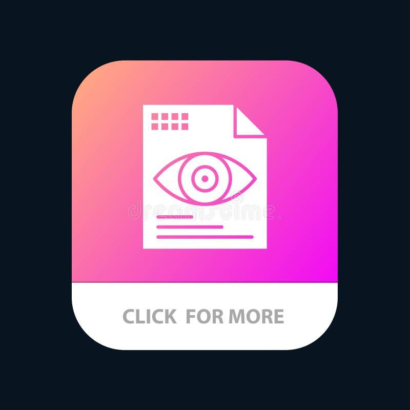 Dossier, Tekst, Oog, het Pictogramontwerp van de Gegevensverwerkingsmobiele toepassing stock illustratie