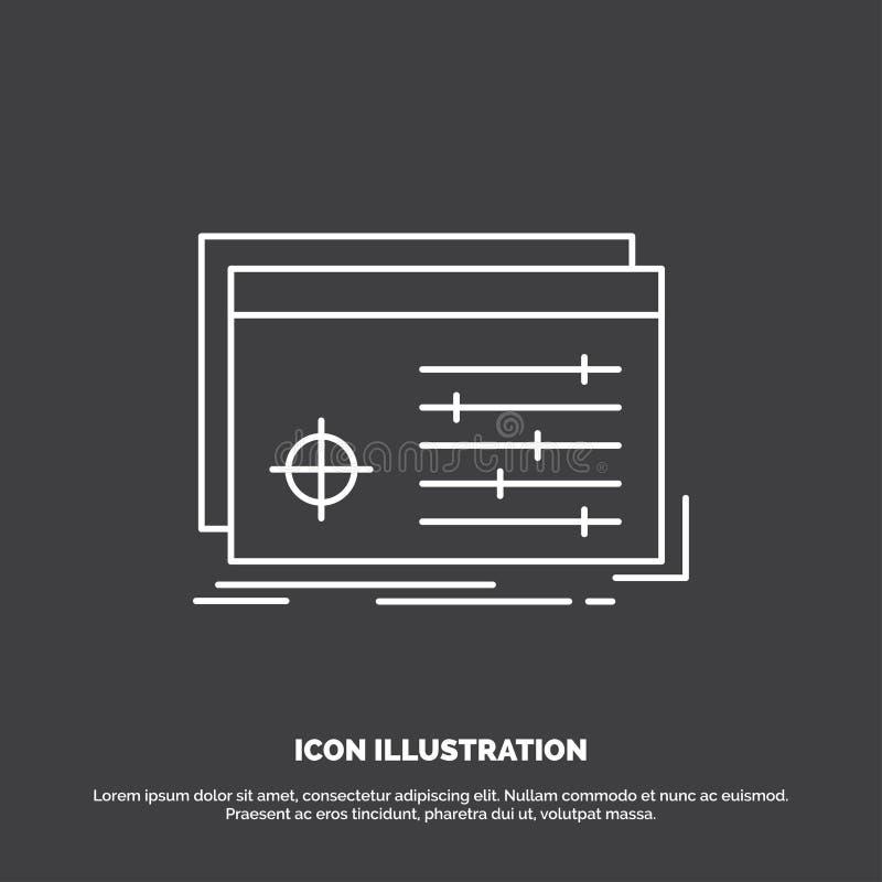 Dossier, voorwerp, verwerking, montages, softwarepictogram Lijn vectorsymbool voor UI en UX, website of mobiele toepassing stock illustratie