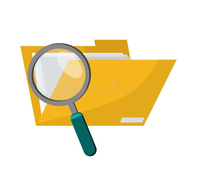 Dossieromslag en vergrootglaspictogram vector illustratie