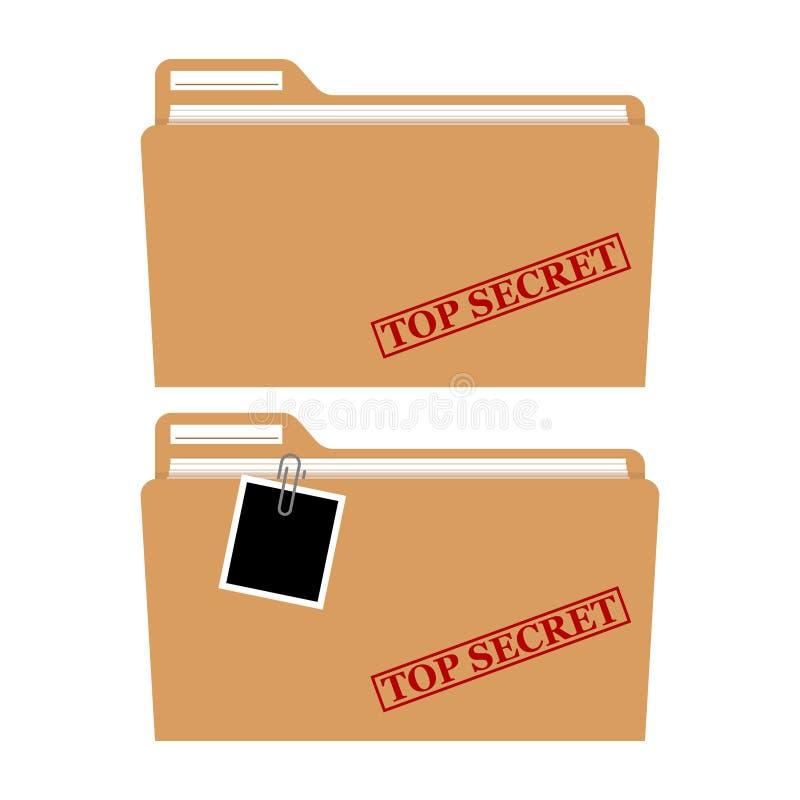Dossieromslag met rode rubberzegelbovenkant - geheime geïsoleerde vector, vertrouwelijke, privé informatie stock illustratie
