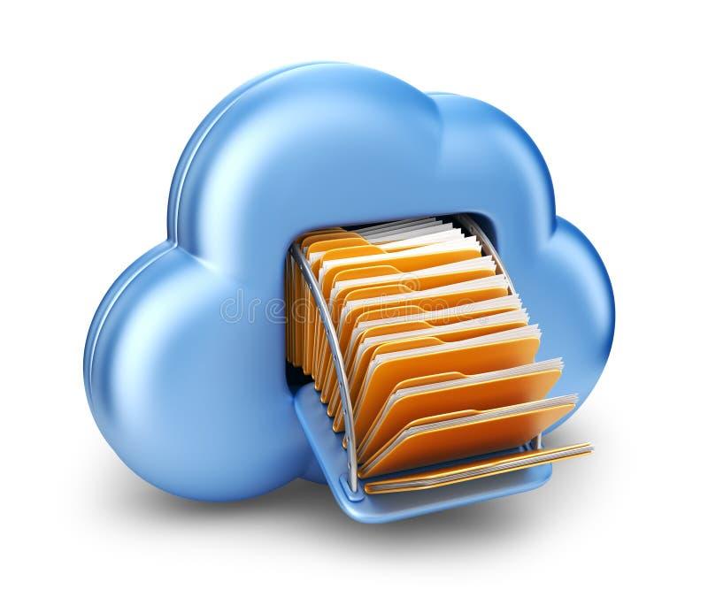 Dossieropslag in wolk. 3D geïsoleerd computerpictogram royalty-vrije illustratie