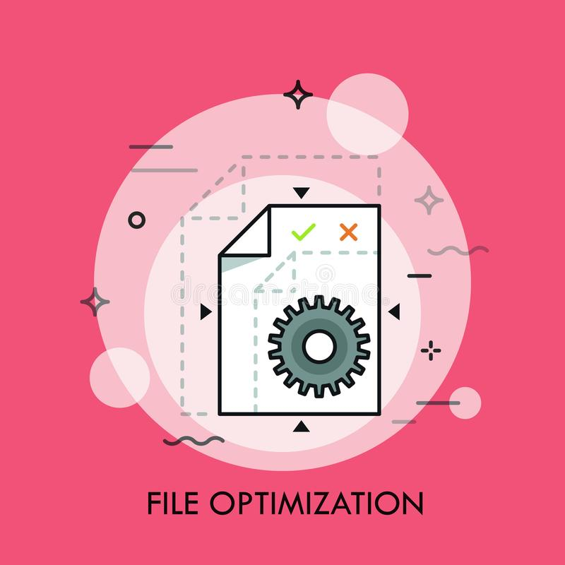 Dossieroptimalisering, lossless compressie, groottevermindering, het concept van de formaatomzetting stock illustratie