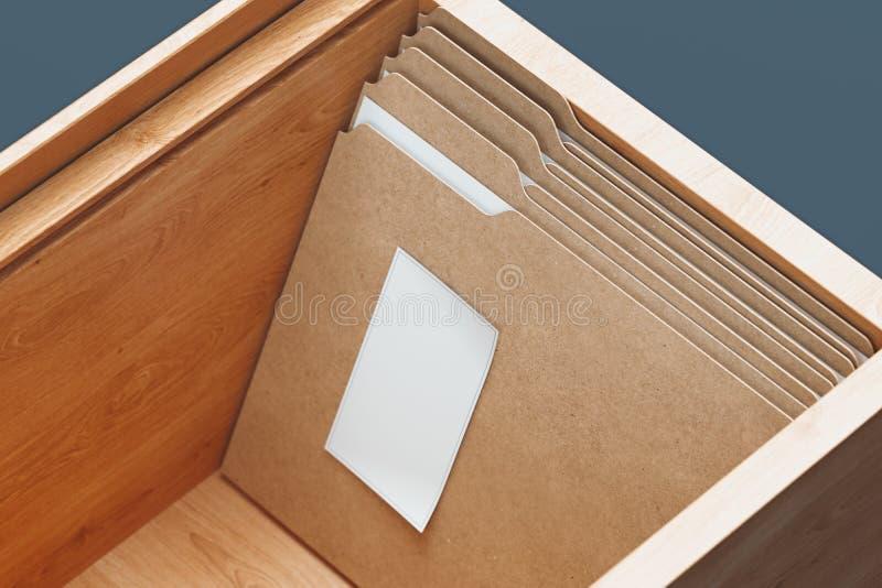 Dossiers de carton avec des feuilles de livre blanc de document et dans la boîte en bois rendu 3d illustration libre de droits