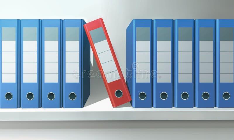 Dossiers in een Bureau stock afbeelding