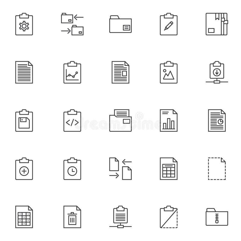 Dossiers en omslagen geplaatste overzichtspictogrammen royalty-vrije illustratie