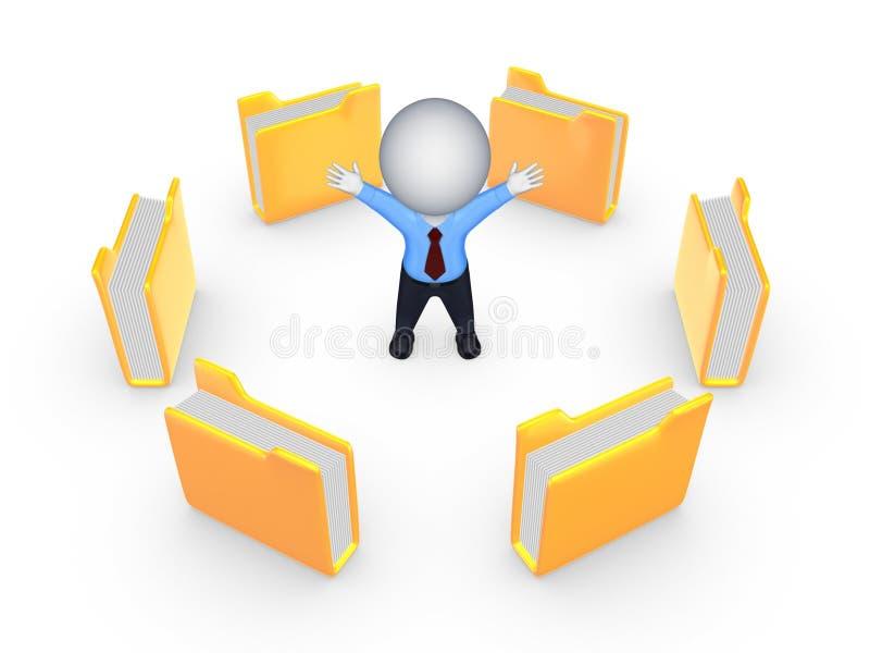 Dossiers jaunes autour de la petite personne 3d heureuse. illustration stock