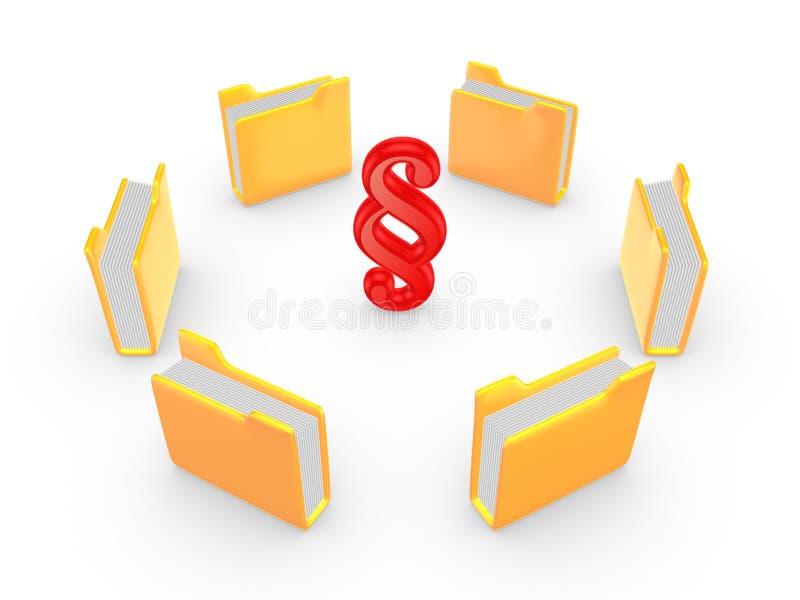 Dossiers jaunes autour de symbole de paragraphe. illustration libre de droits