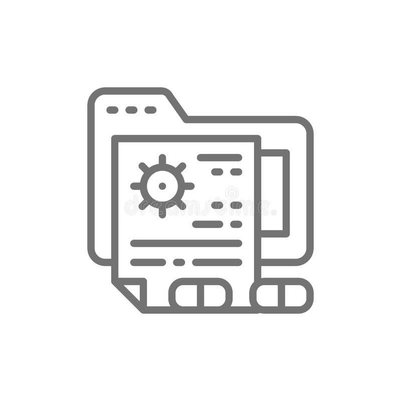 Dossiers patients, ligne médicale icône de dossier de prescription illustration de vecteur