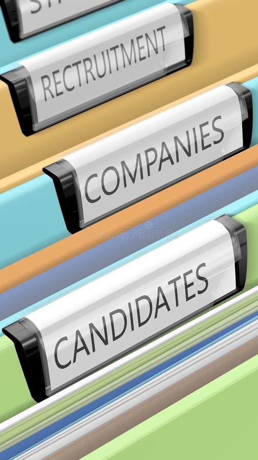 Dossiers sur des candidats et des positions de société illustration de vecteur