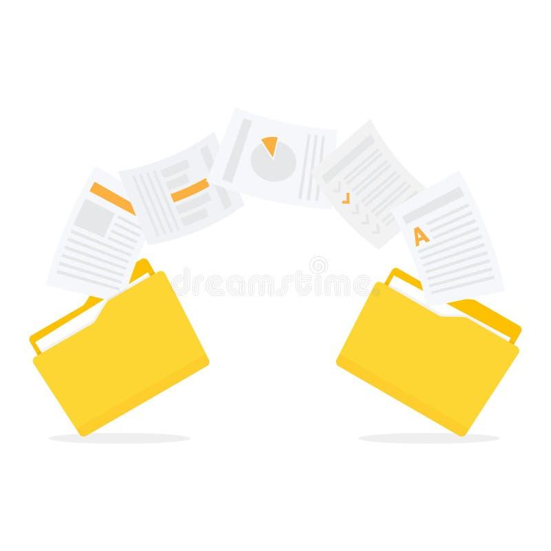 Dossiersoverdracht Exemplaardossiers, gegevensuitwisseling, reserve stock illustratie