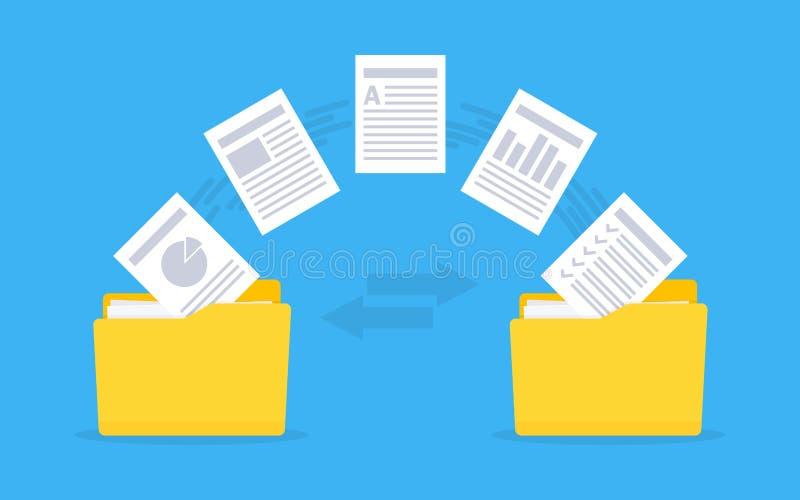 Dossiersoverdracht Exemplaardossiers, gegevensuitwisseling, reserve vector illustratie