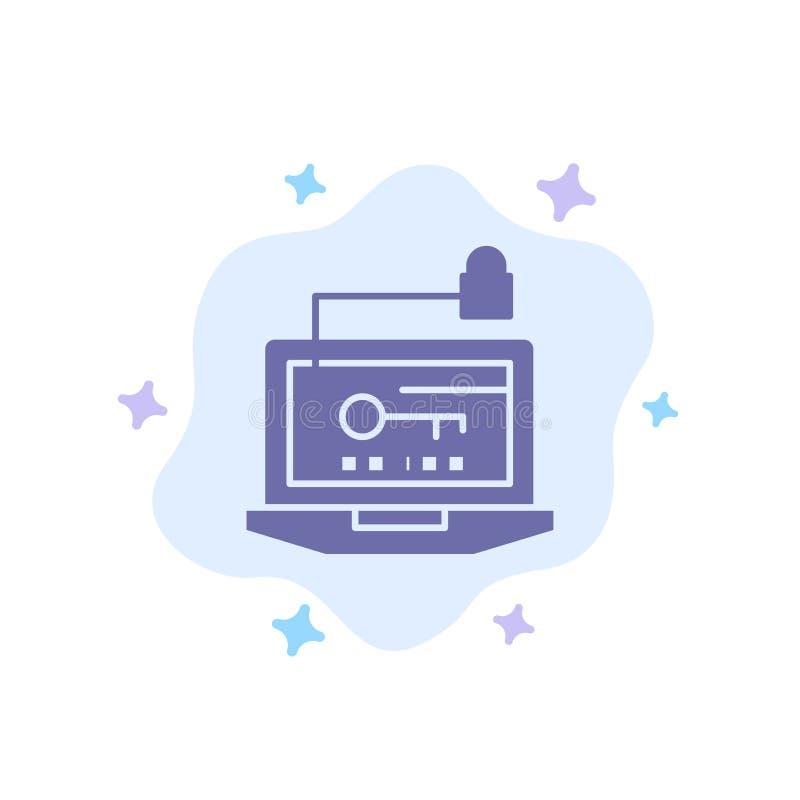 Dostęp, komputer, narzędzia, klucz, laptop Błękitna ikona na abstrakt chmury tle royalty ilustracja
