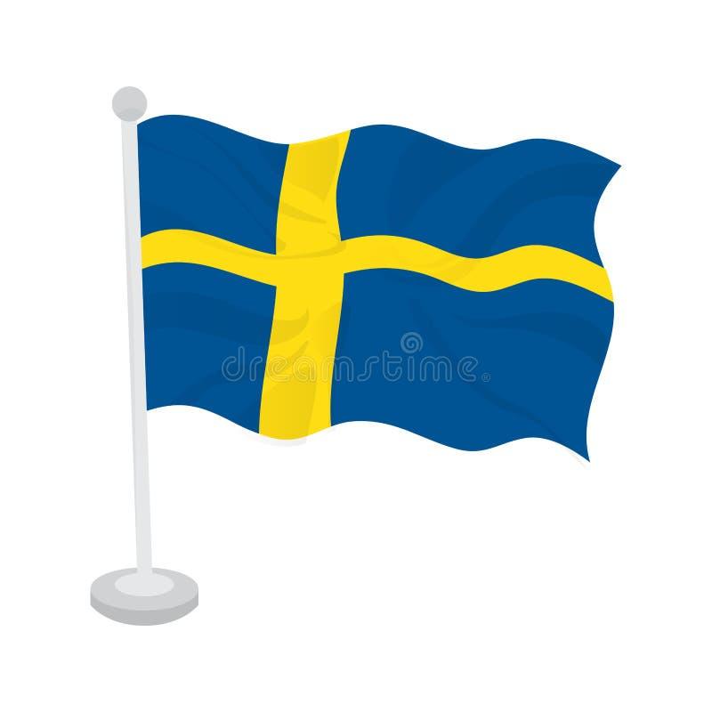 dostępnego chorągwianego formata Sweden wektorowy falowanie ilustracja wektor