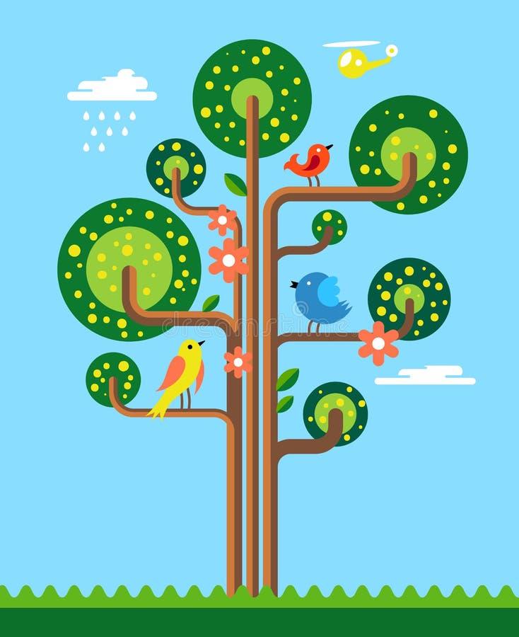 dostępnej kartoteki ilustracyjny drzewa wektor ilustracji