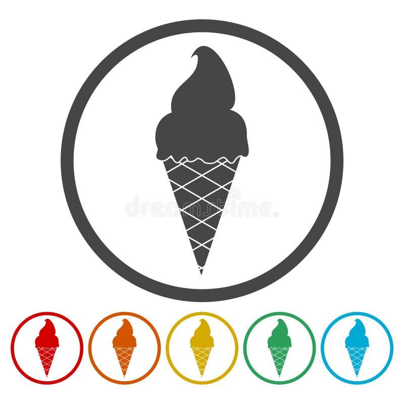 dostępny śmietanki lodu ikony wektor Słodki deser w gofra rożka znaku royalty ilustracja