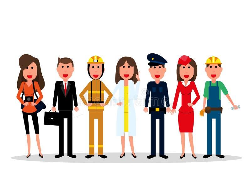 dostępny dzień kartoteki pracy wektor Ludzie grupują charaktery różni zawody na a ilustracja wektor