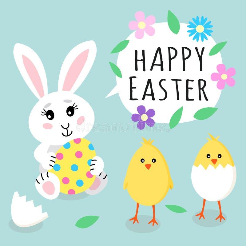 dostępny karciany Easter eps kartoteki powitanie Śliczny królika królika mienie barwił jajko z kropkami i ślicznymi małymi żółtym ilustracji