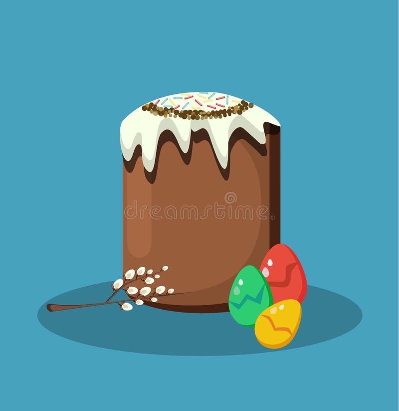 dostępny karciany Easter eps kartoteki powitanie Wielkanoc tort, jajka i wierzby gałąź, Wektorowa ilustracja w mieszkanie stylu fotografia royalty free