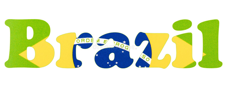 dost?pne flagi Brazylijskie okulary stylu wektora Brazylia teksta literowanie z chorągwianą ilustracją zdjęcia royalty free