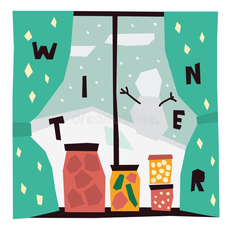 (0) 8 dost?pnych eps ilustracyjnych wersi zima Wektorowa ilustracja widok od okno ilustracja wektor
