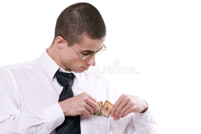 dostaje faceta pieniądze kieszeń zdjęcie stock