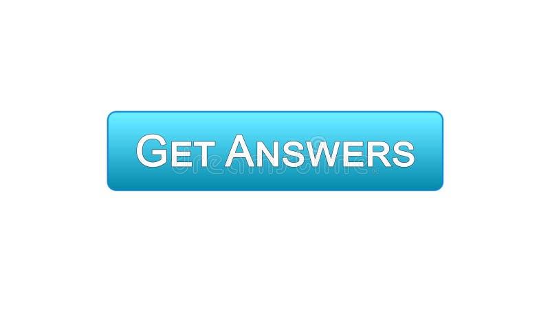 Dostaje odpowiedzi sieci interfejsu guzikowi błękitnego kolor, online konsultacja, miejsce projekt royalty ilustracja