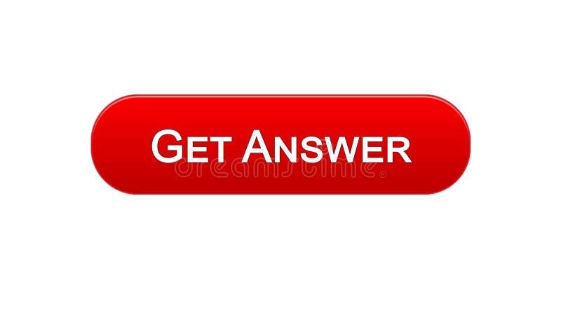 Dostaje odpowiedzi sieci interfejsu guzikowi czerwonego kolor, online konsultacja, miejsce projekt ilustracji