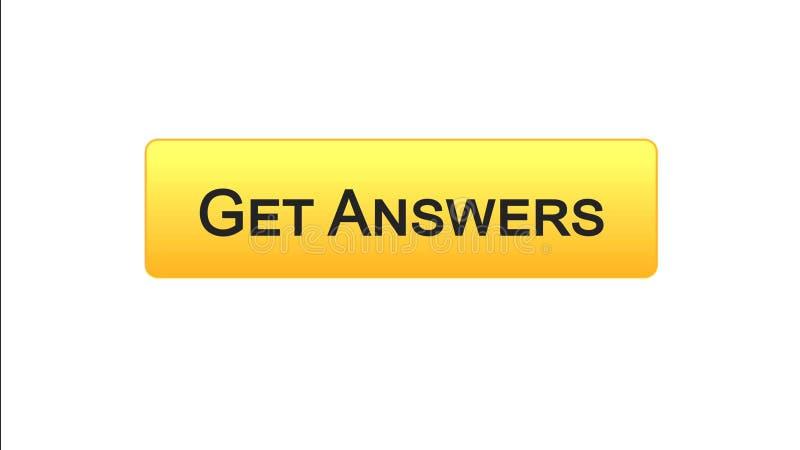 Dostaje odpowiedzi sieci interfejsu guzikowi pomarańczowego kolor, online konsultacja, miejsce projekt ilustracji