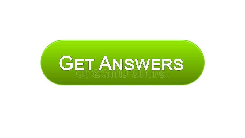Dostaje odpowiedzi sieci interfejsu guzikowi zielonego kolor, online konsultacja, miejsce projekt ilustracji