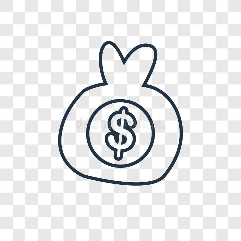 Dostaje pieniądze pojęciu wektorową liniową ikonę odizolowywająca na przejrzystym bac ilustracja wektor