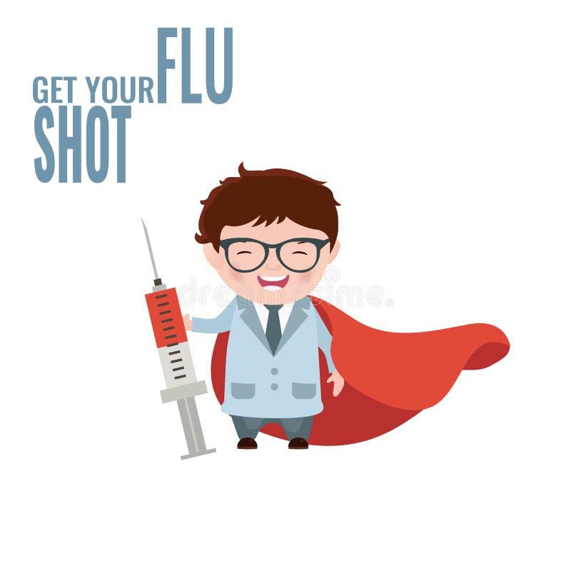 Dostaje Twój szczepionka przeciw grypie ilustracja wektor