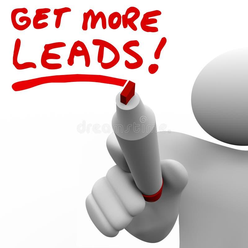 Dostaje Więcej sprzedaży prowadzeń sprzedawcy Writing słowom Przyrostowego sprzedawanie ilustracja wektor