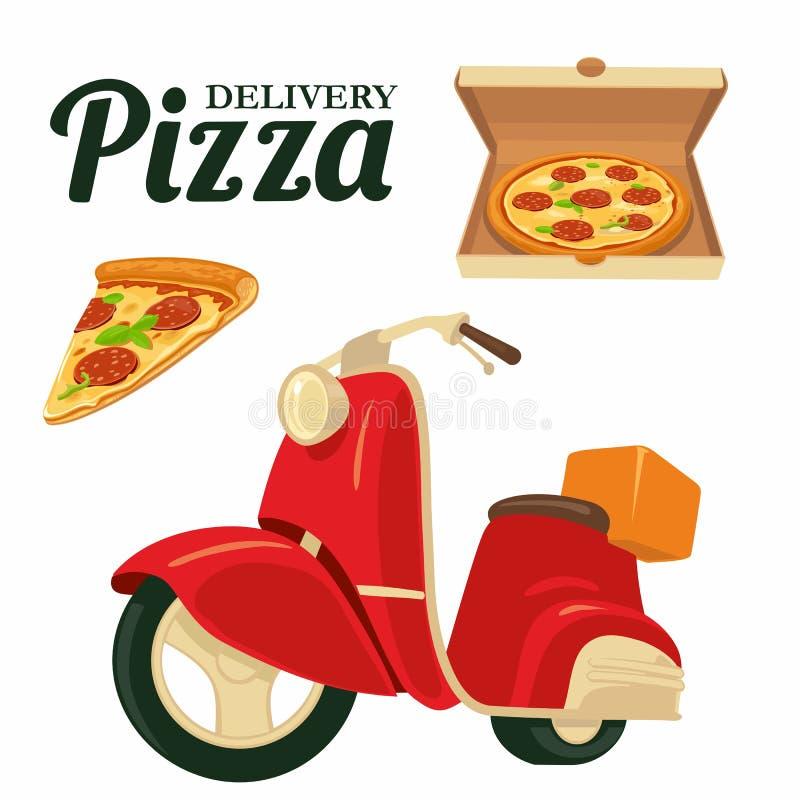 Dostarczać pizzę na czerwonej moped pizzy Odosobniona ilustracja na białym tle Dla sieci, ikona, sztandar, plakat, menu, bela ilustracja wektor