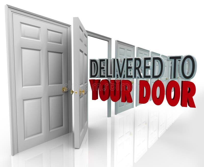 Dostarczający Twój drzwi 3D Formułuje Specjalny kurier Przyśpieszającego Servic royalty ilustracja