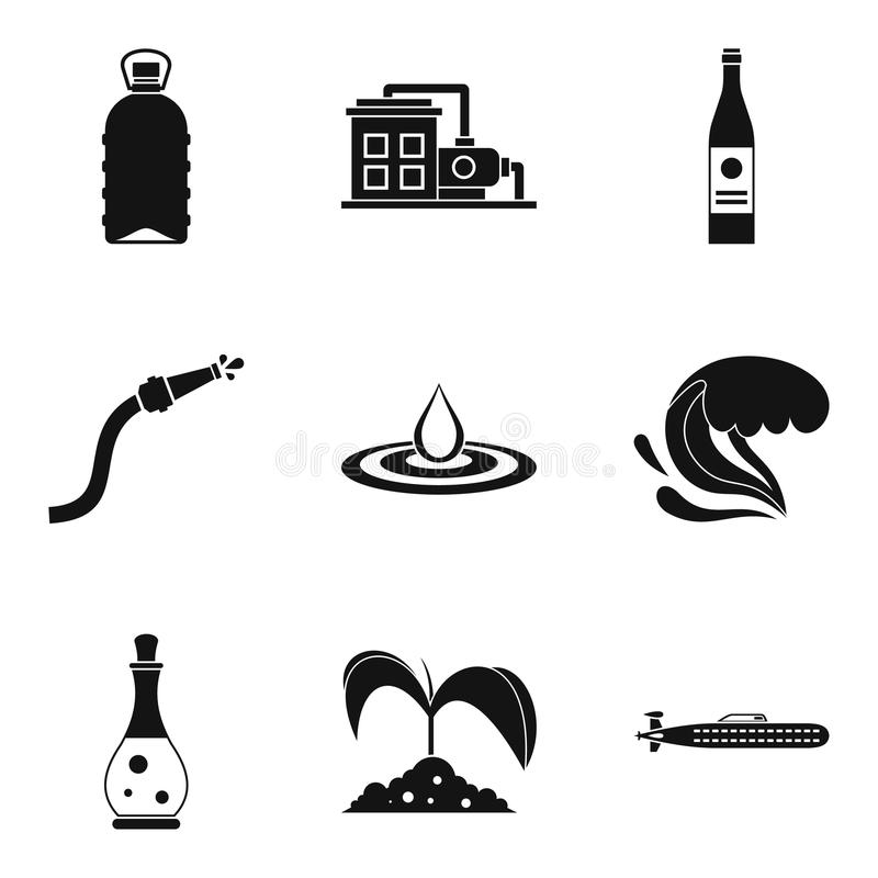 Dostaw wody ikony ustawiać, prosty styl ilustracji