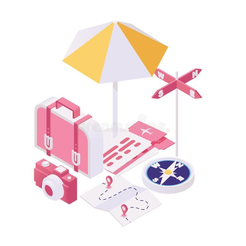 Dostawać gotowy dla wycieczki isometric ilustracji Pakować torby dla turystycznej podróży, lato wycieczki turysycznej 3d wakacyjn royalty ilustracja