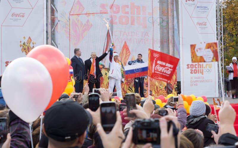 Dostawać Olimpijskiego płomień fotografia royalty free