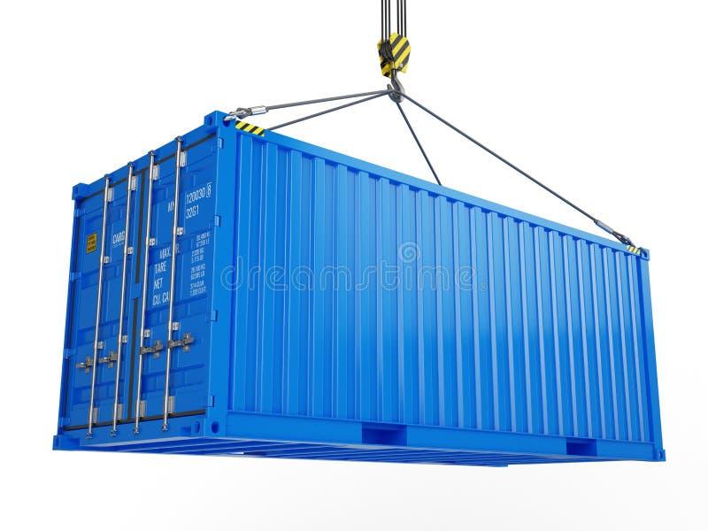 Dostawa, ładunek, wysyła pojęcie - błękitny ładunku zbiornik podnoszący dźwigowym haczykiem odizolowywającym na bielu ilustracja wektor