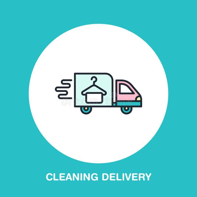 Dostawa barwiąca mieszkanie linii ikona, postu suchego cleaning kuriera logo ilustracji