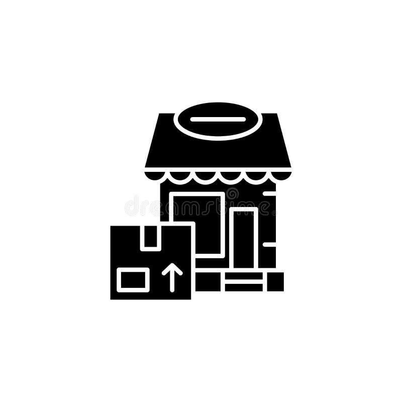 Dostawa biurowy czarny ikony pojęcie Dostawa biurowy płaski wektorowy symbol, znak, ilustracja royalty ilustracja