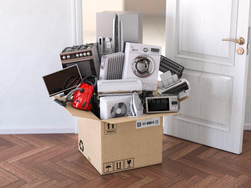 Dostawa, chodzenie i online zakupy pojęcie, Domowego gospodarstwa domowego kuchenni urządzenia w otwartym kartonie przed otwarte  royalty ilustracja