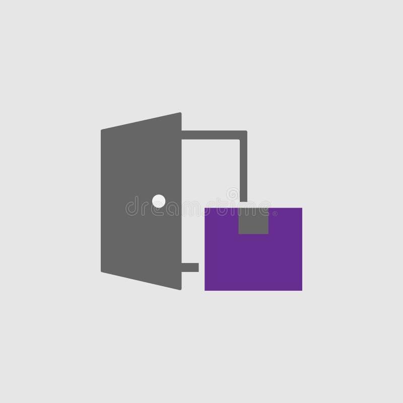 Dostawa, drzwiowa ikona Element dostawy, logistyki ikona dla mobilnych apps i Szczegółowa dostawa, drzwiowa ikona może być royalty ilustracja