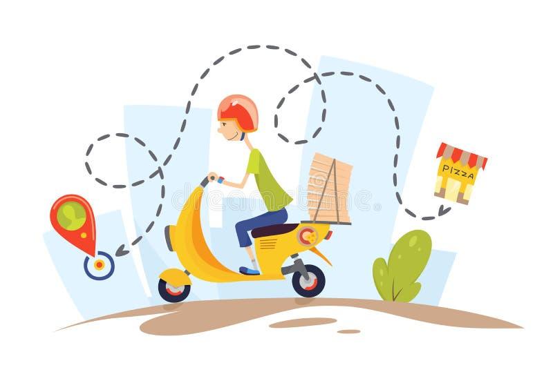 Dostawa facet na moped niesie pizz? charaktery Pizzy doręczeniowego pojęcia projekta wektoru płaska ilustracja ilustracji
