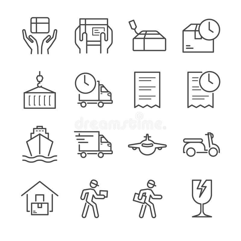 Dostawa i logistyki wykładamy ikonę ustawiamy 1 ilustracja wektor