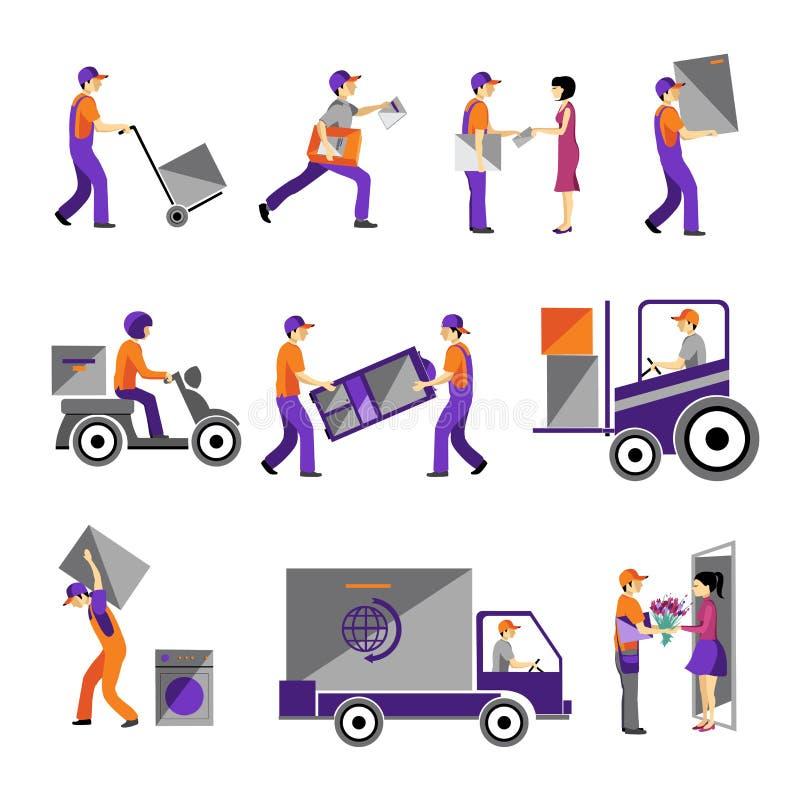 Dostawa, kurier usługa, osoby zafrachtowanie logistycznie royalty ilustracja