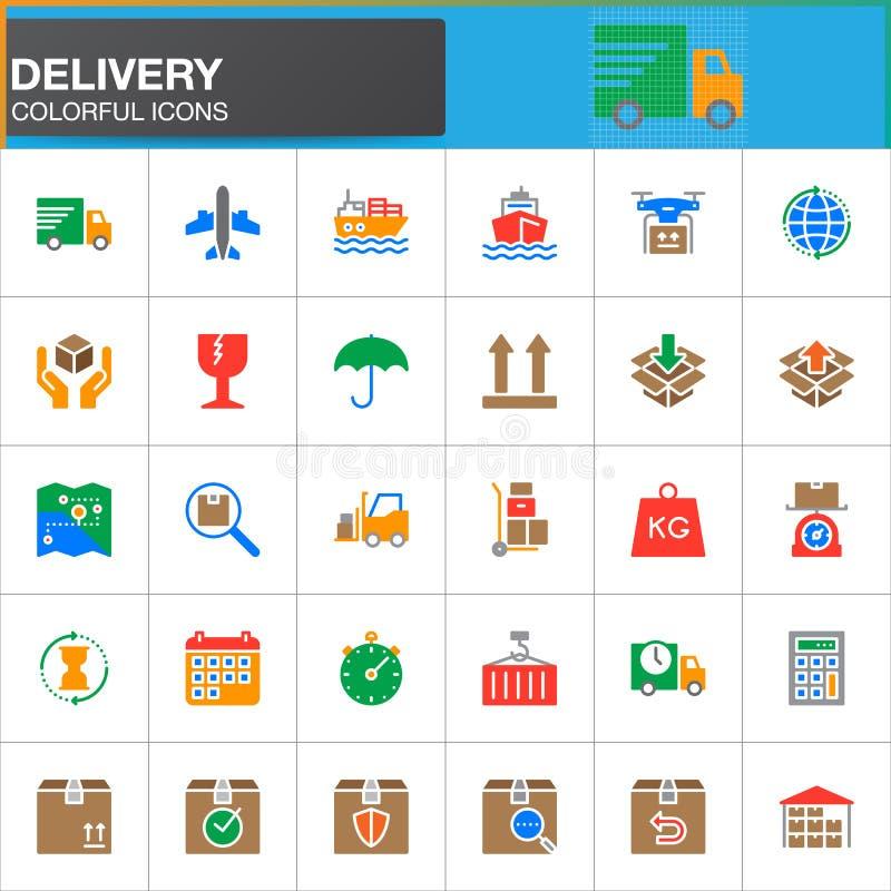Dostawa, logistyk wektorowe ikony ustawia, nowożytna stała symbol kolekcja royalty ilustracja