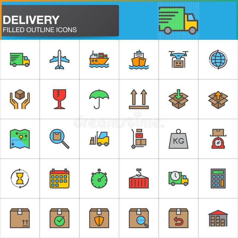 Dostawa, logistyki wykłada ikony ustawiać, wypełniający konturu wektoru symbol ilustracja wektor