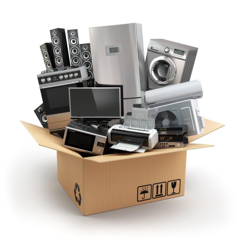 Dostawa lub poruszający pojęcie Domowy urządzenie w pudełku Fridge, washi royalty ilustracja